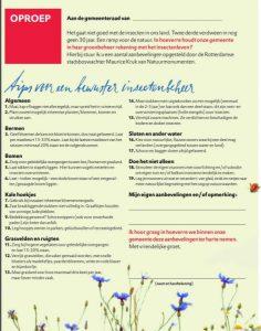 Brief met daarin tips voor een bewuster insectenbeheer