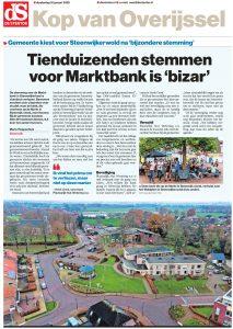 Een artikel in De Stentor over de marktbank.