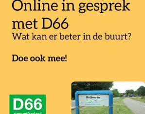Post over online in gesprek gaan met D66 Steenwjikerland.